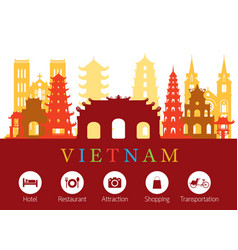 vietnam landmarks skyline with accommodation icons vector image