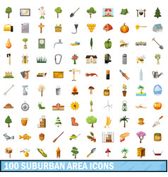 100 suburban area icons set cartoon style vector image