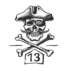 pirate skull with a mustache sketch vector image
