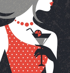 Beautiful fashion woman silhouette vector image
