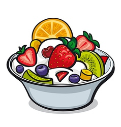 fruit yogurt salad vector image