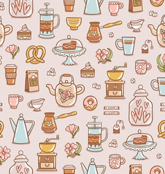 Tea coffee and desserts seamless pattern vector