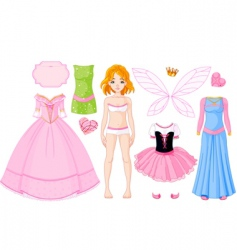 girl with different princess dresses vector image