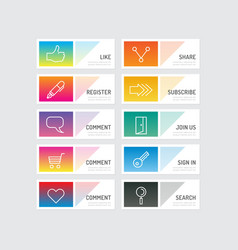 Modern banner button with social icon design optio vector