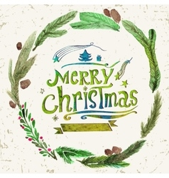 Watercolor christmas greeting card with wreath of vector