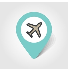 Aircraft plane airplane map pin icon vector