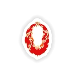 Sticker fiery font red number 0 on white vector