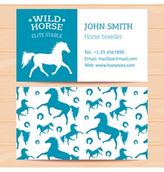 Horses business card 2 vector