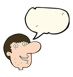 Cartoon happy male face with speech bubble vector