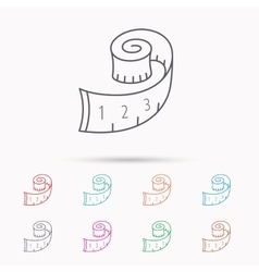 Measuring tape icon weight loss sign vector