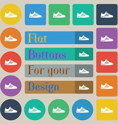 Sneakers icon sign set of twenty colored flat vector