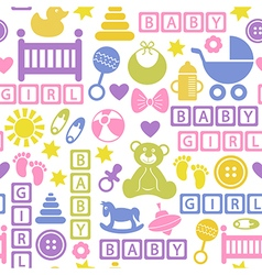 Seamless pattern with icons for baby girl vector