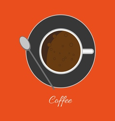 A cup of coffee with bubbles and a spoon vector