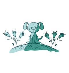 Aquamarine hand drawn silhouette of dog sitting in vector
