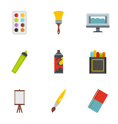 Art instruments icons set flat style vector