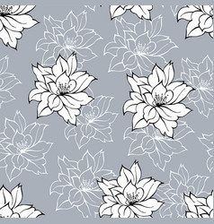 black and white floral seamless pattern vector image