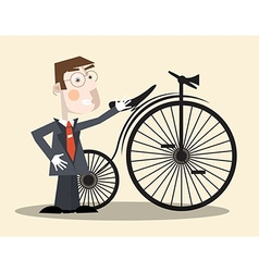Business Man and Vintage Bike vector image