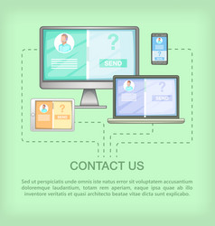 Call center concept devices cartoon style vector
