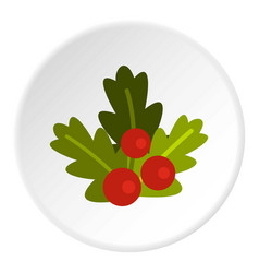 Christmas berries icon circle vector