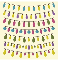 Colored garland Light bulbs collection Set of vector image