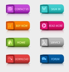 Colored set rectangular square web buttons element vector image vector image