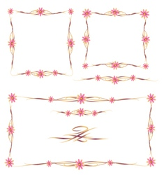 Colorful Floral Frames and Ornaments Set vector image vector image