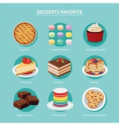 desserts favorite set flat design vector image vector image