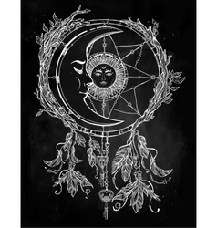 Dream catcher adorned with sun and moon inside vector image