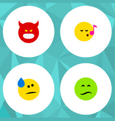Flat icon emoji set of tears descant frown and vector