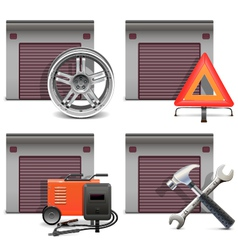 Garage icons set 3 vector