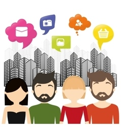 Group communication bubble speech urban background vector