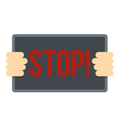 Hands holding stop placard icon isolated vector