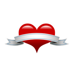 Heart banner romantic love graphic vector