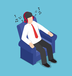 Isometric businessman resting at sofa and vector