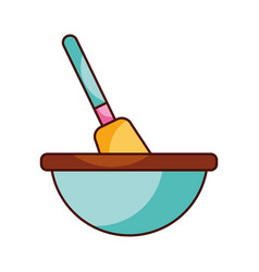 kitchen bowl with spatula utensil equipment for vector image