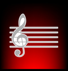 Music violin clef sign g-clef postage stamp or vector