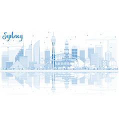 Outline sydney australia skyline with blue vector