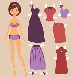 Paper doll vector image vector image