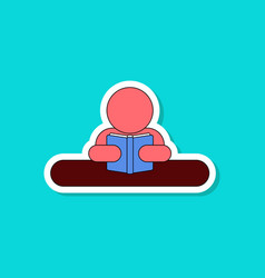 paper sticker on stylish background man reading vector image