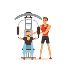 Professional fitness coach and man flexing muscles vector