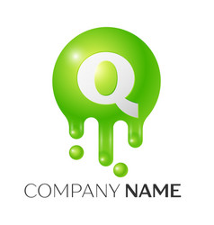 q letter splash green dots and bubbles letter vector image vector image