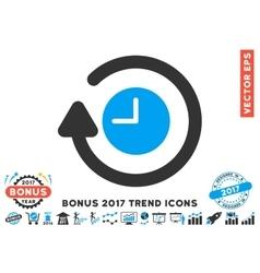 Repeat clock flat icon with 2017 bonus trend vector
