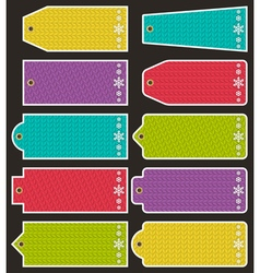 Set of special colour knitwear labels for christma vector