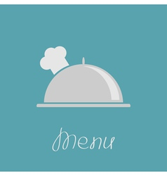 Silver platter cloche and chefs hat vector