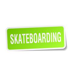 Skateboarding square sticker on white vector