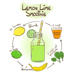 Sketch lemon lime smoothie recipe vector