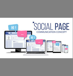 Social page on computer monitor laptop tablet vector