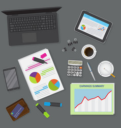 Top view of office dark desk background including vector