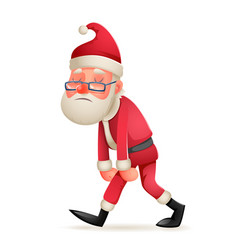 vintage walk tired sad weary santa claus character vector image