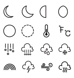 Weather and moon icons symbol vector